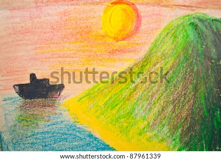 Child's hand drawing of sea and mountain landscape with crayons