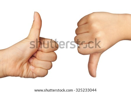 Child's hand forming like and dislike sign isolated on white background