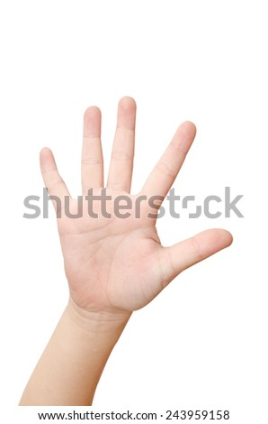 Child's Hand gesture with 5 fingers  - stock photo