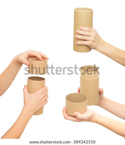 child's hand holding brown paper tube isolated on white background, set of three photos - stock photo