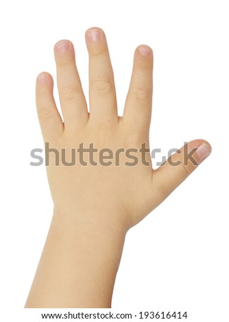 child's hand isolated on white background