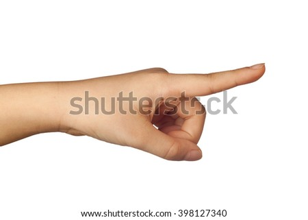 Child's hand pointing a finger isolated on white background