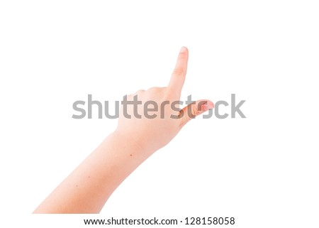 Child's hand pointing out isolated on white - stock photo