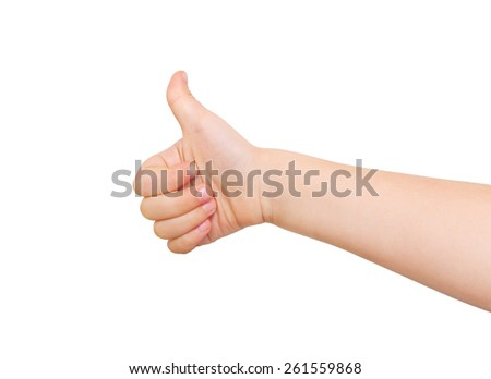 Child's hand showing  thumb up, like,  positive sign. Isolated on white background - stock photo