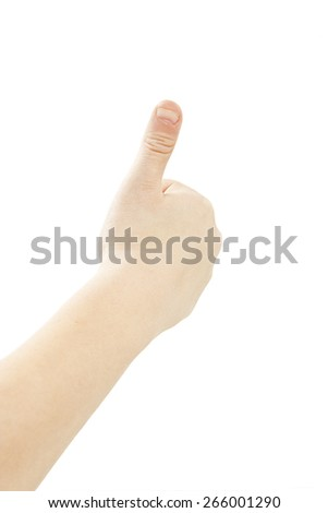 Child's hand shows OK. Isolated on white background - stock photo