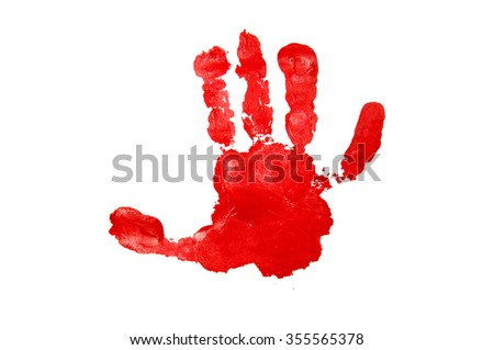 Child's handprint with red textured paint isolated on white background. - stock photo