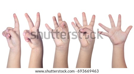 Child's hands counting from one to five in isolated white background