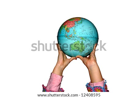 child's hands holding the earth, in white background