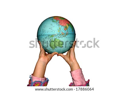 child's hands holding the earth, in white background - stock photo