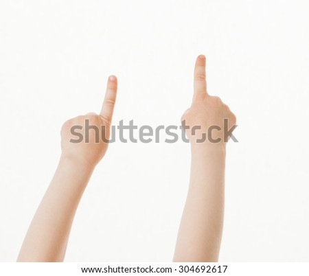 Child's hands indicating up, white background