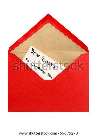 Child's letter to Santa in a red envelope