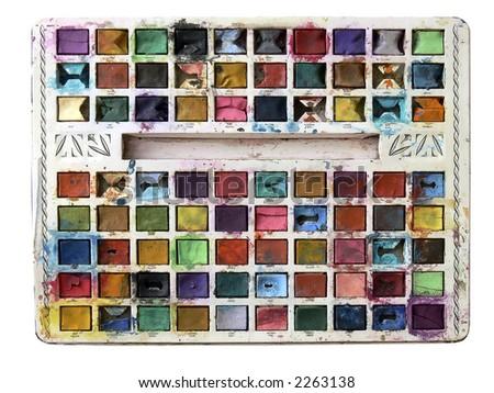 child's paintbox, natural colours - stock photo