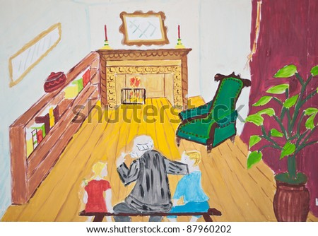 Child's painting of Grandfather with his grandchildren - stock photo