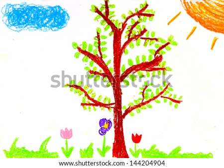 Child's painting on paper - stock photo