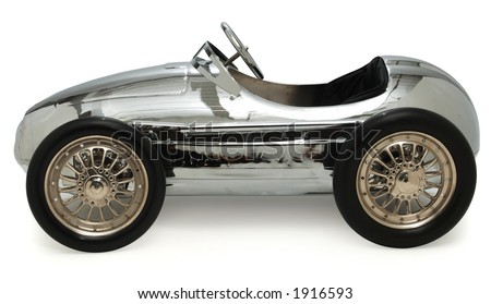 child's pedal car on white background - stock photo