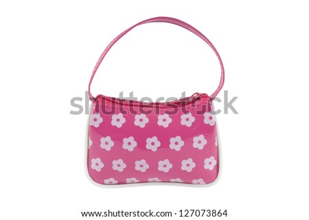Child's pink handbag with flowers on a white background. Clipping path included. - stock photo