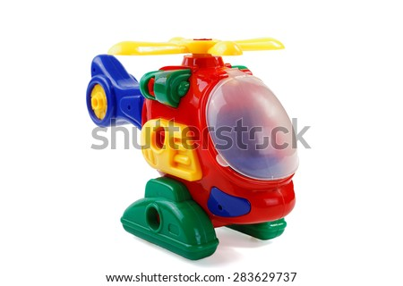 child's plastic helicopter on a white background