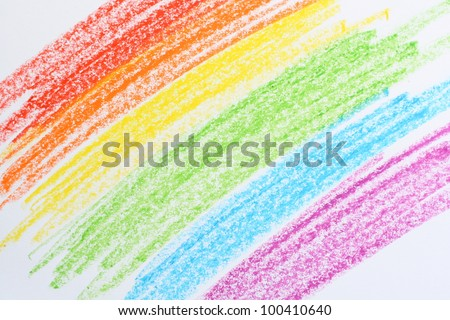 Child's rainbow crayon drawing. Hand-drawn. - stock photo