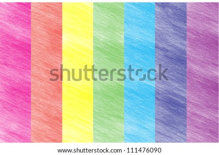 Child's rainbow crayon drawing. Hand-drawn colored pencil background - stock photo