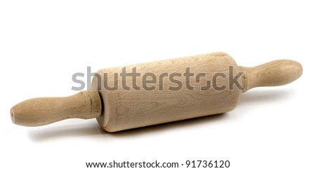 Child's rolling pin isolated on white background - stock photo
