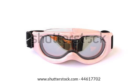 child's ski goggles isolated on a white background - stock photo