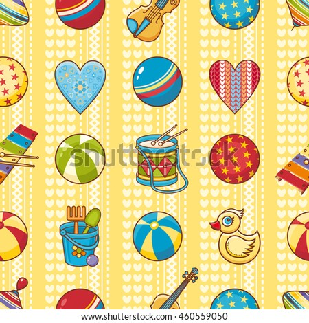 Child's toy. Seamless pattern. Colorful ornament. Raster