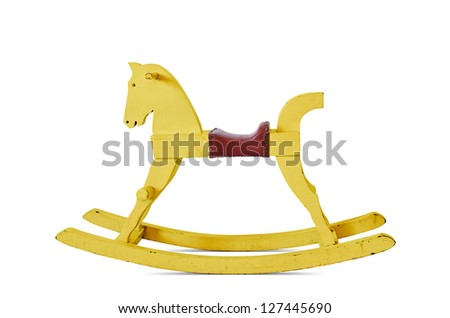Child's wooden rocking horse, yellow isolated on white background. - stock photo