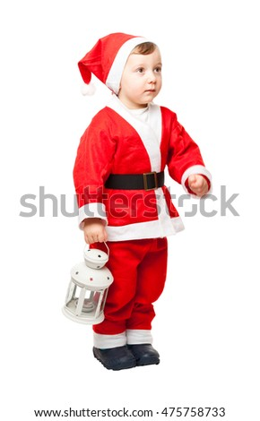child santa claus isolated on white background