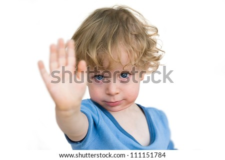 Child saying no - stock photo