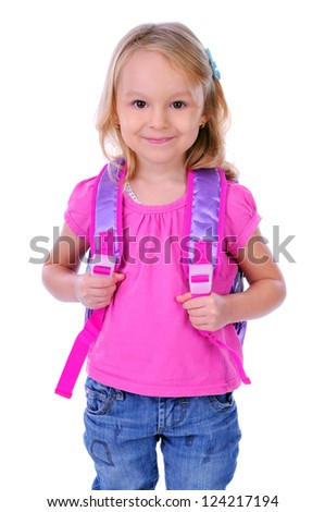 child school bag on a white background