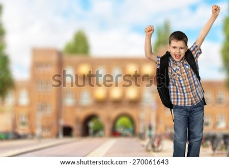 Child, School, Jumping.