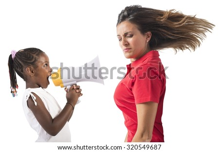 Child screaming with megaphone to an adult