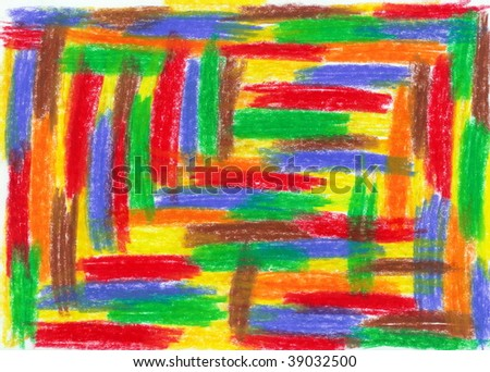 child scribble, drawn by crayon