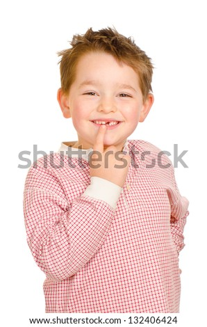 Child showing off his lost teeth isolated on white - stock photo