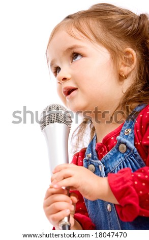 child singing with a microphone isolated over a white background