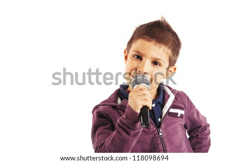 Child singing with microphone, isolated on white background.