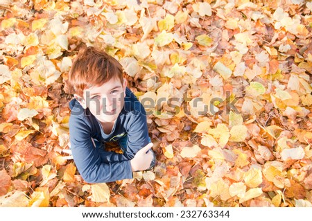 Child sitting on colorful autumn leaves - stock photo