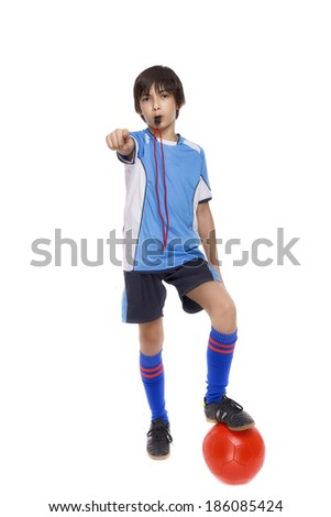 child soccer judge with whistle isolated on white background - stock photo
