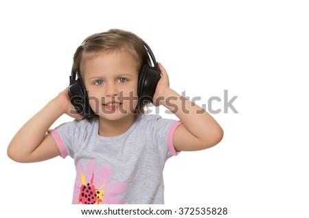 Child stereo headphones - stock photo