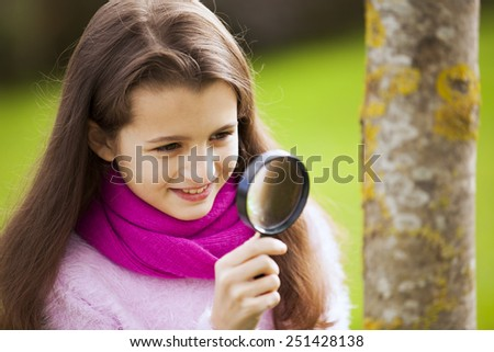 Child studding biology - stock photo