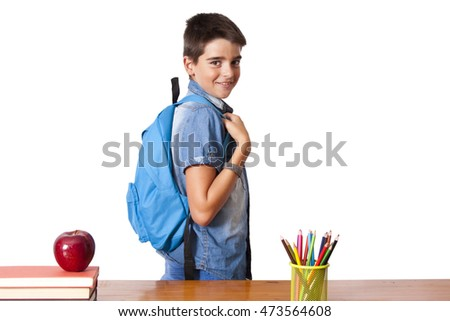 child student in school on white background