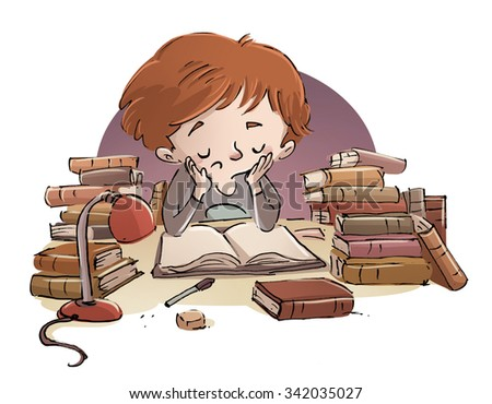 child studying with books