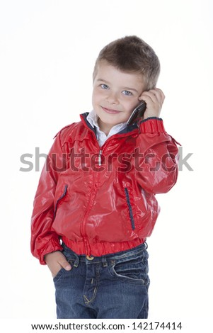 child talking on the phone - stock photo