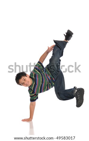 Child tap dancer making a move isolated on white background