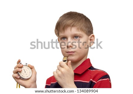 Child - the trainer with a stop watch in a hand trains team - stock photo