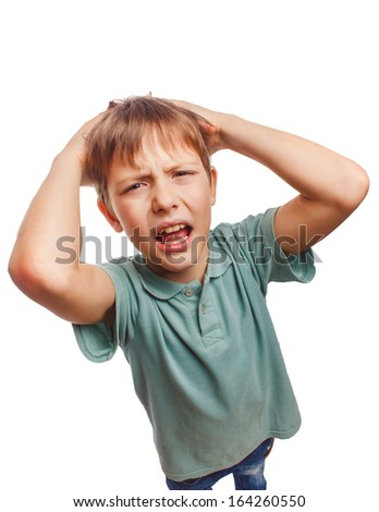 child upset angry boy shout produces evil face portrait isolated