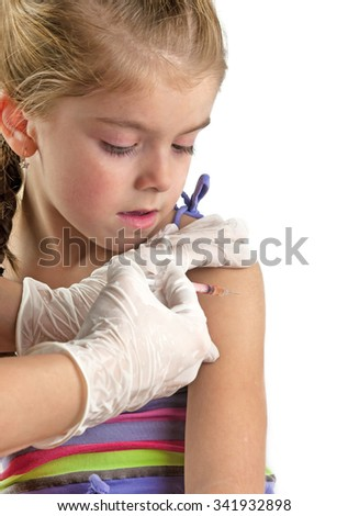 child vaccinations on a white