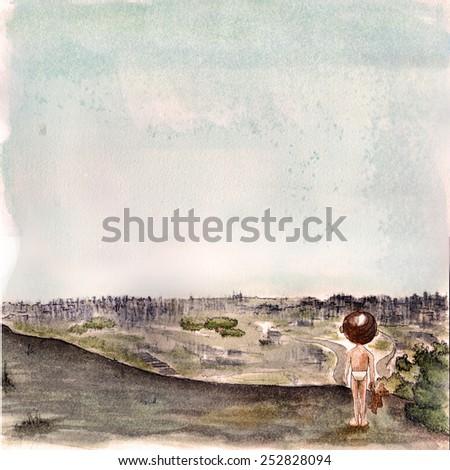 Child watching cityscape, handmade watercolor - stock photo