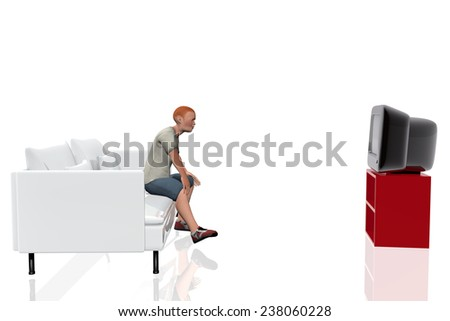 Child watching television - stock photo