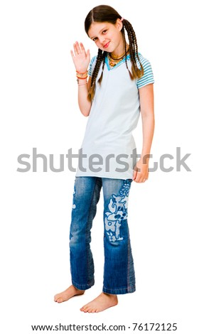 Child waving her hand and smiling isolated over white - stock photo